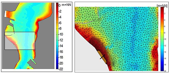 Topografie Kieler Innenförde und Strukturierung des hochauflösenden Modellgitternetzes