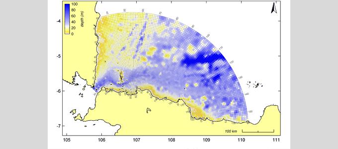 Bathymetrie und Gitternetz des Strömungsmodells für das Untersuchungsgebiet in der Javasee