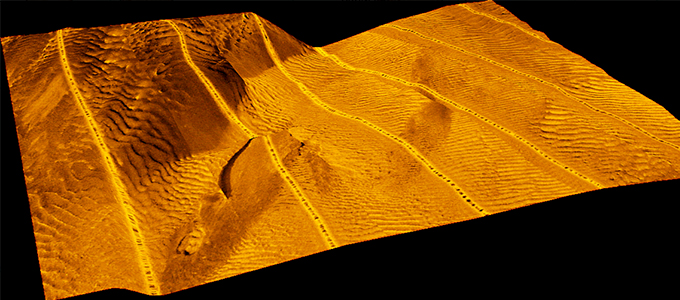 3D presentation of the sea floor in a tidal channel based on a side scan sonar mosaic.