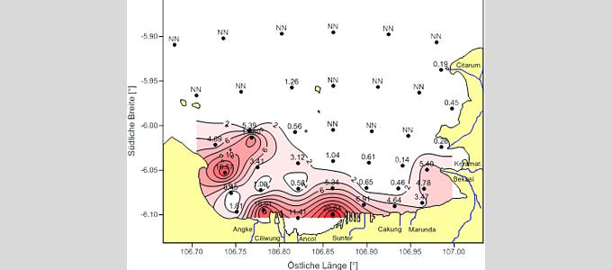 Ammoniumverteilung [µM] in der Bucht von Jakarta im Oktober 2012 (NN = Messwert unterhalb der Nachweisgrenze von 0,05 µM)