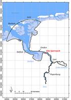 Figure: Model area and Ems storm surge barrier near Gandersum